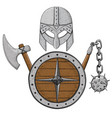 viking armor set - helmet shield and axe and vector image vector image