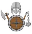 viking armor set - helmet shield and axe vector image vector image