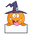 witch pumpkin character over a blank sign vector image vector image