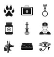 worship cat icons set simple style vector image vector image