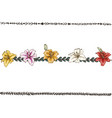 doodle floral line with colorful lilies flower vector image