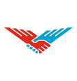handshake wings bird vector image