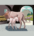 a donkey with her little puppy vector image vector image