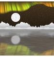 Arctic pole landscape with aurora borealis vector image vector image