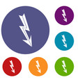 arrow lightning icons set vector image vector image