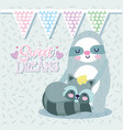 bashower cute sloth and raccoon bunting flags vector image