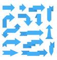 blue paper arrows 3d sticker labels vector image