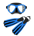 blue scuba mask and snorkel diving flippers vector image vector image