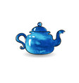 blue teapot watercolor vector image
