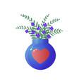 bouquet of blue wild flowers in big glass vase vector image vector image