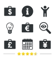Businessman case signs Cash money icons vector image vector image