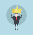 businessman holding the gold thumbs up sign vector image vector image