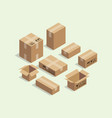cardboard isometric box for shipping packaging vector image