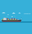 cargo container ship transports containers vector image