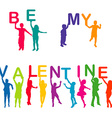 Children silhouettes holding letters with BE MY vector image vector image