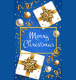 christmas card on blue vector image vector image