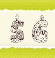 Collection of Birthday Candles 5 and 6 vector image vector image