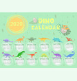 dino calendar 2020 in pastel colors graphics vector image