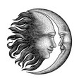 face in sun and moon hand drawing vintage vector image