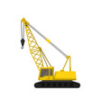 flat icon of yellow crane on crawler tracks vector image