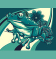 frog with flower colored background vector image