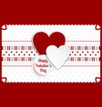 happy valentines day greeting card red and white vector image