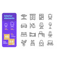 interior elements line icons set vector image