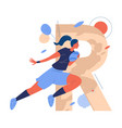large letter r and woman with ball running while vector image