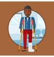 Man with broken leg and crutches vector image vector image