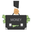 money in hand suitcase vector image vector image