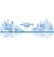 outline welcome to netherlands skyline with blue vector image vector image