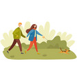 people in relationship walk together with dog vector image vector image