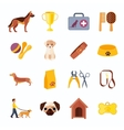 Pets dog flat icons set vector image vector image