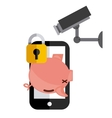piggy smartphone cctv and padlock icon vector image vector image