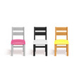 realistic chairs white black and wooden chair vector image