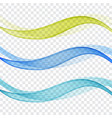 set of abstract blue and green waves vector image vector image
