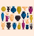 set of colored antique vases vector image