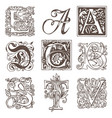 set of decorative hand drawn initial letters vector image vector image