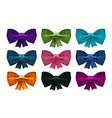 set of satin bows bowknot ribbon for decoration vector image