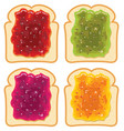 set white bread slices with fruit jam vector image
