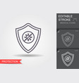 shield protecting from virus line icon with vector image