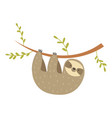 sloth hanging on the tree adorable cartoon animal vector image vector image