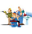 Three plumbers cartoon vector image vector image