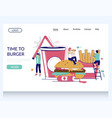 time to burger website landing page design vector image vector image