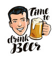 time to drink beer poster alcohol pub concept vector image vector image