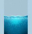 transparent underwater blue ocean vertical banner vector image vector image