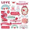 Valentines day setLabels emblemsframehearts vector image vector image