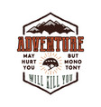 vintage adventure hand drawn label design vector image vector image