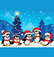 winter theme with penguins 4 vector image