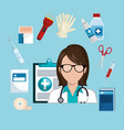 woman doctor with medical services icons vector image